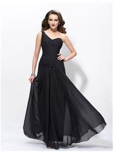 Elegant A-line Sequins Beading One-Shoulder Floor-Length Evening Dress