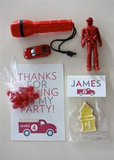 Firetruck party favors from Blonde Designs. Use Avery printable labels and bags and toppers 22821 to make these fun ideas.