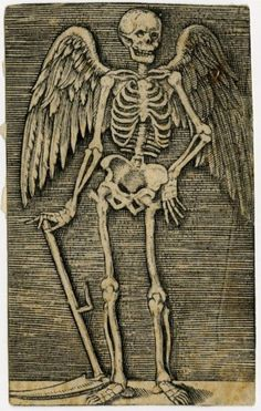 Raimondi Marcantonio Skeleton with wings and scythe weapon, grim  / grimm reapers something like this reaper but with the sythe pointed up like it's being swung