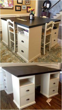 17 Easy To Build DIY Craft Desks You Just Can't Live Without diy craft desk - Diy Kids Craft Tables, Craft Tables With Storage, Craft Room Tables, Craft Room Storage, Diy Crafts Desk, Craft Desk, Space Crafts, Home Crafts, Sewing Room Design