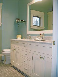 classic bath remodel, white cerrara marble vanity & grey hexagon floor tile