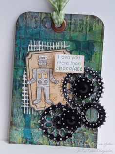 Robot Tag ~*~ Little Darlins rubber stamp set ~*~ Rustic Chic patterned paper stack ~*~ from Red Rubber Designs www.RedRubberDesigns.com