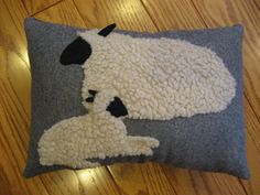 Lying sheep and baby lamb pillow by Justplainfolk on Etsy