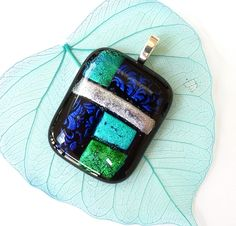 Dichroic glass pendant, fused glass pendant necklace, gifts for women £10.00