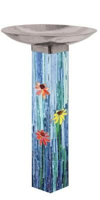 Give birds a place to refresh and rejuvenate with this Bird Bath Art Pole. This ultra-durable, maintenance-free pole is easy to install--no digging required. Birdbath features a beautiful stainless steel top. Mosaic Birdbath, Mosaic Garden Art, Mosaic Art, Mosaic Glass, Glass Art, Stained Glass, Mosaic Birds, Mosaic Flowers, Mosaic Crafts