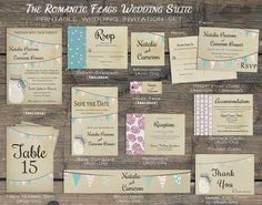 Printable Rustic Wedding Invitation, Mason Jar Wedding Invitation, Summer Barn Wedding Invite w/ Bunting Flags, Backyard Country Wedding Save the Date, Table Numbers, Favor Tags, Belly Bands, Thank You Card, Enclosure Cards by X3designs