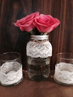 Three piece glass set by CountryCliche on Etsy