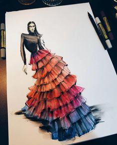 31 New Ideas For Fashion Sketches Designer Illustrations Dress Design Sketches, Fashion Design Drawings, Fashion Sketches, Fashion Drawing Dresses, Fashion Illustration Dresses, Fashion Dresses, Fashion Illustrations, Drawing Fashion, Fashion Painting
