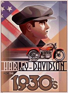 Harley Davidson Motorcycle Limited Ed. Print by Unknown Artist . Harley Davidson History, Harley Davidson Posters, Vintage Harley Davidson, Bike Poster, Motorcycle Posters, Motorcycle Art, Bike Art, Harley Bobber, Harley Bikes