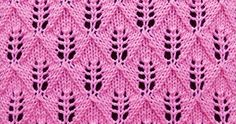 Lace knitting stitch of the Month -  August 2015. The Fern or Leaf-Patterned Lace sitch is worked over a multiple of 10 stitches plus 1 and 1- row repeat.