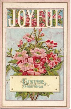 Junkin Gypsies: A Joyful Easter Greeting and a Victorian Rose in Hand Easter Art, Easter Crafts, Easter Ideas, Easter Eggs, Vintage Greeting Cards, Vintage Postcards, Vintage Images, Kitsch, Fete Pascal