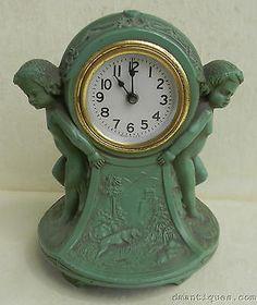 Vintage Decorative Figural Cast Iron Art Nouveau Clock Kids Dog Duck Woods Scene