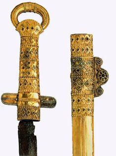Espada del kan Kubrat. Sword in a Sheath with a Gold Facing   7th century, Malaja Perecespina, Ukraine.