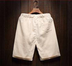 Men's Cotton Linen Shorts Breathable Beach Shorts Beads Beige - Shorts