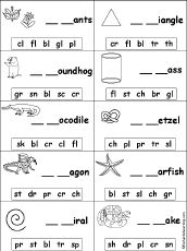 This website includes many printable worksheets and other materials that go along with blends.  Some include books that can be made for each blend, fill in the blanks with the blend for a picture, and brainstorming charts for words with each consonant blend.