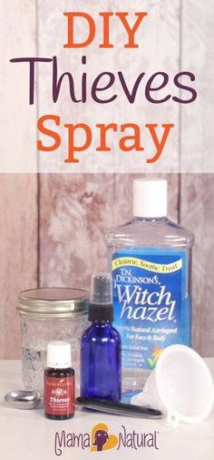 Learn how to make Thieves spray in this easy recipe. This essential oil spray is a great cleanser and supports your immune system naturally. https://www.mamanatural.com/how-to-make-thieves-spray/