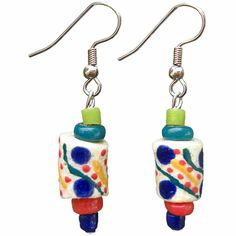 Global Mamas' beads are handmade from recycled glass. Due to each piece's individuality, all sizes and lengths are approximate. Ear wires are surgical steel. (~2'') Meet the Artisans Global Mamas crea