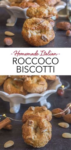 These Traditional Christmas Cookies from Naples, Roccoco Biscotti are the perfect dunking cookie. A fast and easy cookie recipe that is full of almonds and so tasty. Serve with a glass of wine, Spumonte or even a cup of tea or an espresso! #roccoco #biscotti #Italiancookie #cookie #Italianrecipe #Christmascookie Cookie Recipes From Scratch, Healthy Cookie Recipes, Healthy Cookies, Meat Recipes, Cake Recipes, Dessert Recipes, Popular Italian Food, Traditional Christmas Cookies, Healthy Chocolate Chip Cookies