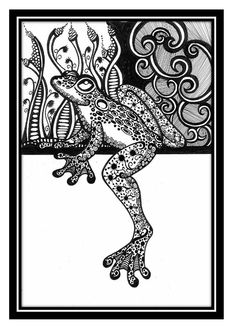 Shop for frog art from the world's greatest living artists. All frog artwork ships within 48 hours and includes a money-back guarantee. Choose your favorite frog designs and purchase them as wall art, home decor, phone cases, tote bags, and more! Animal Coloring Pages, Adult Coloring Pages, Coloring Books, Doodles Zentangles, Zentangle Patterns, Dibujos Tattoo, Graffiti, Frog Art, Tinta China