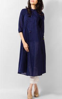 Navy Blue Linen Kurta