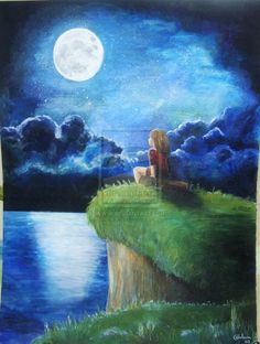 Moon by isiachan on Deviantart, found via befriending-lighthouses on Tumblr (To The Moon)
