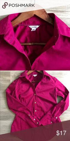 """Calvin Klein button down shirt Gorgeous, high quality deep magenta long sleeve button down shirt. Bust measures 34"""". No fading or signs of wear. Calvin Klein Tops Button Down Shirts"""