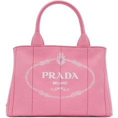 Prada Pink Small Gardener Canvas Tote (€745) ❤ liked on Polyvore featuring bags, handbags, tote bags, pink, pink canvas tote bag, striped tote, pink tote bags, canvas totes and pink tote
