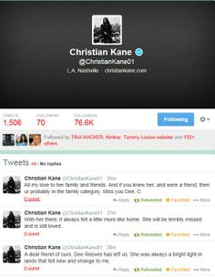 Christian' Kane tweets from Feb 23, 2014 about the death of Dee Reeves on his @ChristianKane01 twitter..  FEBRUARY