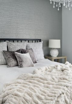 ***White grey contemporary bedroom boudoir