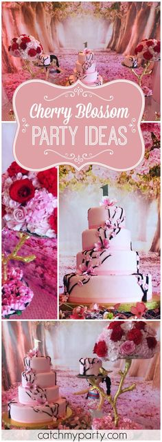 Loving the cherry blossom theme at this Mulan first birthday! See more party ideas at Catchmyparty.com!
