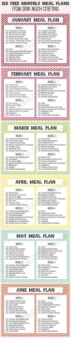 Six FREE Monthly Meal Plan Printables - a decent starting point to tweak for our gf family by fsdsfds by marva Planning Menu, Monthly Meal Planning, Family Meal Planning, Meal Planning Printable, Meal Planner, Family Meals, Monthly Menu, Fitness Planner, Freezer Cooking