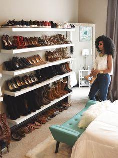 64 Ideas apartment closet organization walk in shoe wall Ikea Closet, Closet Bedroom, Bedroom Apartment, Bedroom Decor, Bedroom Ideas, Girl Apartment Decor, Dressing Room Closet, Closet Space, Apartment Closet Organization