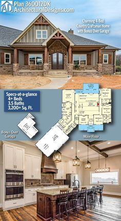 Brick House Exterior Discover Plan Charming Country Craftsman Home with Bonus Over Garage Architectural Designs Country Craftsman House Plan 4 BR Craftsman House Plans, New House Plans, Dream House Plans, My Dream Home, Dream Houses, House Design Plans, Architectural Design House Plans, Craftsman Patio Doors, Custom House Plans