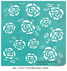 Stencil Stencils Template Roses 6 cm by irismishly on Etsy Stencil Rosa, Rose Stencil, Stencil Diy, Stencil Painting, Fabric Painting, Stencil Templates, Stencil Patterns, Hand Embroidery Patterns, Wall Patterns