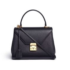 Mark Cross 'Hadley' small leather flap bag ($2,265) ❤ liked on Polyvore featuring bags, handbags, black, lock bag, black purse, long purses, mark cross bags y flap bag