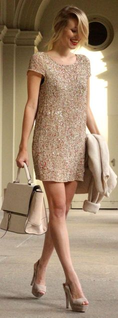 Blush Sequin Embellished Mini Shift Dress