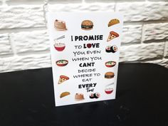 Valentines Day Card- I Promise To Love You Even When You Can't Decide When To Eat Every Time, Funny Card, Love Card, Food Card, Can't Decide by NishsCreations on Etsy