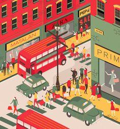 #illustration #colourful #illustrator #design #editorial #colour #character #robot #graphic #design #building #shopping #street #city #malls #london