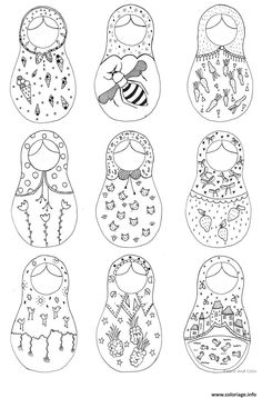Russian Nesting Dolls Coloring Page Paper Toys Sketch Coloring Page Matryoshka Doll, Kokeshi Dolls, Doll Crafts, Diy Doll, Nesting Doll Tattoo, Doll Drawing, Colouring Pages, Printable Coloring, Paper Dolls