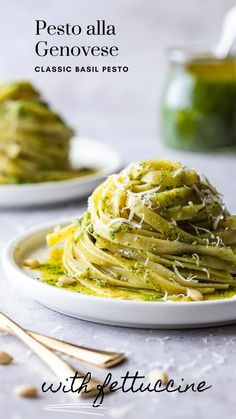 Pesto Alla Genovese, Italian classic basil pesto. This quick and easy sauce is perfect for tossing with cooked pasta or served alongside chicken and fish. Yummy Pasta Recipes, Easy Chicken Recipes, Easy Dinner Recipes, Savoury Recipes, Noodle Recipes, Pesto Sauce For Pasta, Best Italian Recipes, Basil Pesto, How To Cook Pasta
