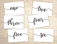 Script Printable Table Numbers design No. 200 - personalized table numbers 1 - 24 for wedding, bridal shower, baby shower DIY