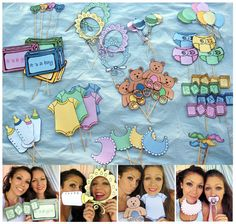 Baby photo booth props in pink, blue, yellow or green - perfect for a baby shower or a welcome party for your bundle of joy Baby Shower Photo Booth, Baby Shower Photos, Baby Shower Games, Cute Baby Photos, Baby Girl Photos, Baby Shawer, Baby Gender, Fun Baby, Color Rosa Bebe