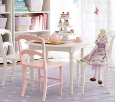 Would love to have a Tea Table with dolls, tea set, and cupcakes.  Finley Play Table & Chairs | Pottery Barn Kids