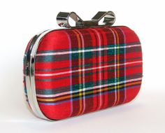Box Clutch Minaudière Clamshell Purse  Silk Royal Stewart Tartan by FABbyCAB, $65.00