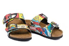 Sandales Birki's Arizona couleur multicolore pour enfant en birko-Flor® imprimé (Spiderman Comic Pattern) - BK513623E | Birkenstock France