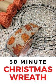 Easy Burlap Wreath, Burlap Wreath Tutorial, Diy Wreath, Wreath Making, Wreath Ideas, Cheap Christmas, Simple Christmas, Christmas Holiday, Christmas Crafts