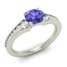 Round Tanzanite  and Diamond  Sidestone Ring in 14k White Gold