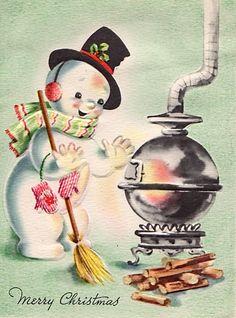 fete noel vintage gifs images - Page 2 Vintage Christmas Images, Old Christmas, Old Fashioned Christmas, Retro Christmas, Vintage Holiday, Christmas Pictures, Christmas Snowman, Christmas Greetings, Snowmen Pictures