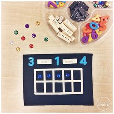 A Pinch of Kinder: Number Sense Loose Parts Tray for Kindergarten (Jenga Block with Numbers and Math Words, Dominos, Magnetic Letters, Rhinestones, Ten Frames) Numbers Kindergarten, Math Numbers, Teaching Numbers, Decomposing Numbers, Math Literacy, Preschool Math, Math Games, Math Activities, Home Preschool