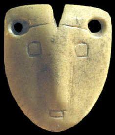 Mississippian culture 1050-1250 CE - Bone Mask Pendant found near Belleville, Illinois